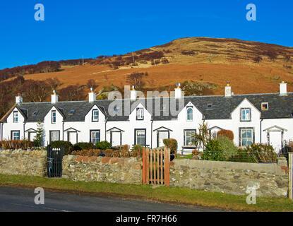The Twelve Apostles, a row of fishermen's cottage, in Catacol, Isle of Arran, North Ayrshire, Scotland UK - Stock Photo