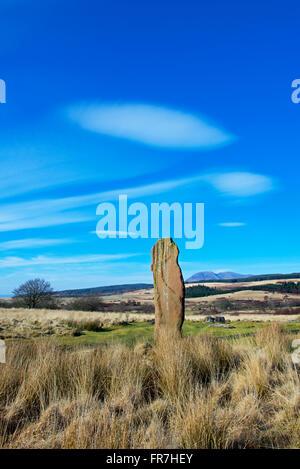 Standing Stone on Machrie Moor, Isle of Arran, North Ayrshire, Scotland UK - Stock Photo