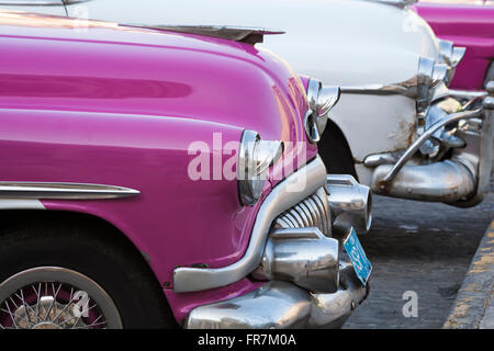 Daily life in Cuba - detail of taxis and cars parked by the Capitolio Nacional, Havana, Cuba - Stock Photo