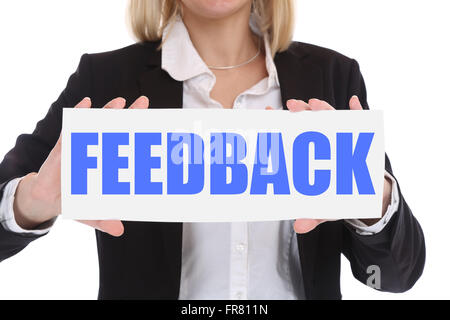 Businesswoman business concept with feedback contact customer service opinion survey - Stock Photo