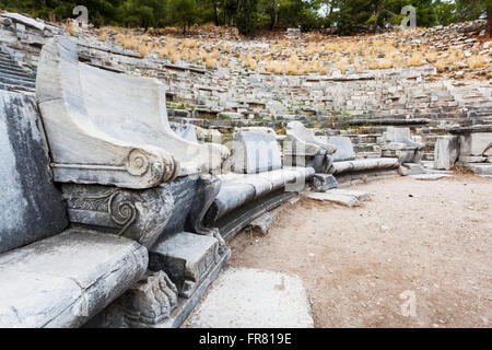 Ruins of an amphitheatre; Priene, Turkey - Stock Photo