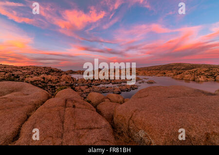 Beautiful sunset over Watson Lake in Prescott, Arizona, USA. - Stock Photo