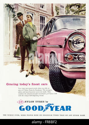 Original vintage full page colour magazine advert from 1950s. Advertisement dated 1959 advertising GOODYEAR nylon - Stock Photo