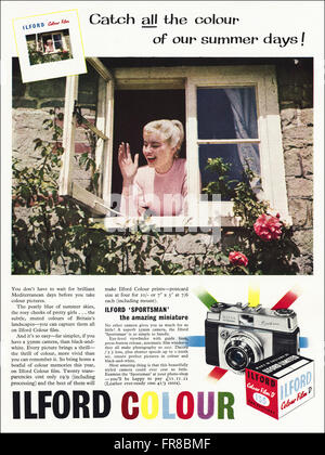 Original vintage full page colour advert from 1950s. Advertisement dated 1959 advertising ILFORD COLOUR FILM. - Stock Photo