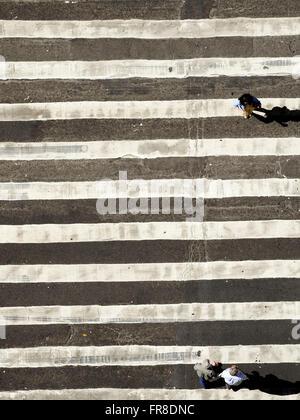 Top view of the crosswalk in the city center of Rio de Janeiro - Stock Photo