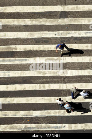 Top view of the crosswalk in the city center of Rio de Janeiro - Stock Photo