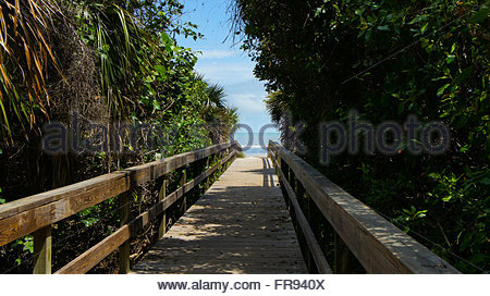Beach Ahead ! Good Times ! Travel to Sanibel Island Florida, walk the boardwalk which leads to a beautiful south - Stock Photo