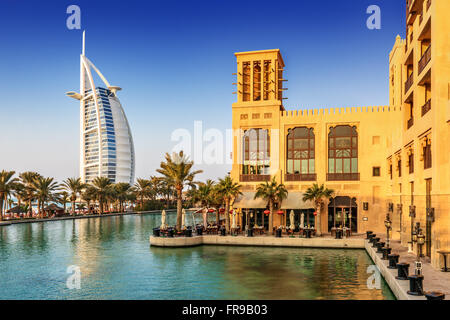 View of Burj Al Arab hotel from Madinat Jumeirah hotel in Dubai, United Arab Emirates, Middle East - Stock Photo