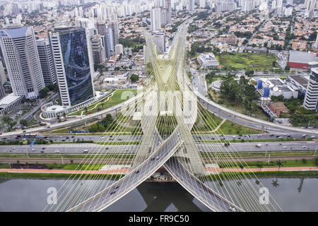Aerial view of the Cable-Stayed Bridge Octavio Frias de Oliveira on the river Pinheiros - Brooklin neighborhood - Stock Photo
