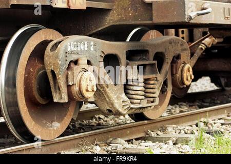 Detail of train wheels on rails - Stock Photo