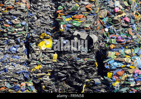 Pressed garbage for recycling - Sanitary Landfill of Jardim Gramacho - Stock Photo