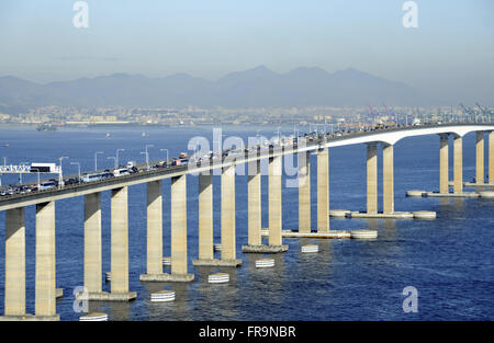 Aerial view of heavy traffic early in the morning in the Rio-Niteroi Bridge - Guanabara Bay - Stock Photo