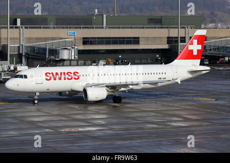 Zurich, Switzerland - January 23, 2016: A Swiss International Air Lines Airbus A320 with the registration HB-IJX - Stock Photo