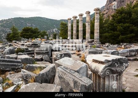 Ruins of the Sanctuary of Athena; Priene, Turkey - Stock Photo