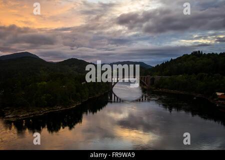 Beautiful landscape at sunset. Storfjorden, Norway - Stock Photo