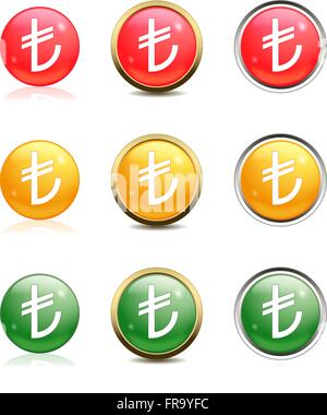 Turkish lira in red, yellow and green buttons - Stock Photo