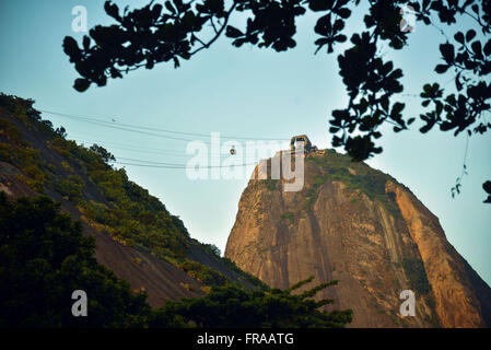 Morro Sugar Loaf and Urca Hill at dusk - Red Beach - south of the city - Stock Photo