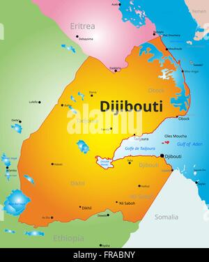 vector color map of Djibouti - Stock Photo