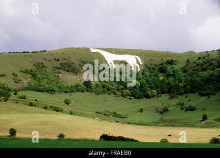 The Westbury White Horse of Bratton Down, Wiltshire, United Kingdom - Stock Photo