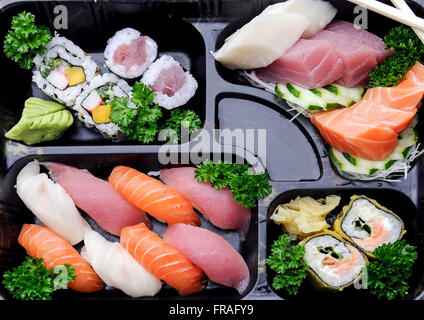 Japanese food - sushi and sashimi combination in restaurant - Stock Photo