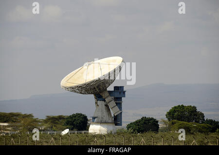 Parabolic antenna in place called Mai Mahiu, Rift Valley Province - Stock Photo