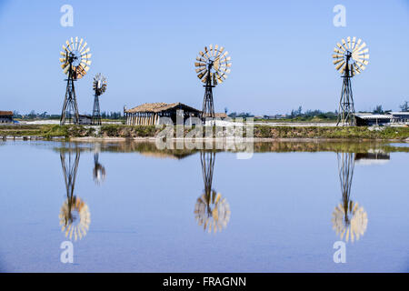 Windmills in the Saline Beach in Laguna Seca Araruama - Stock Photo