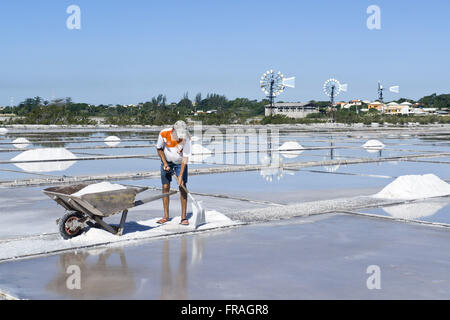 Worker in saline Drought in Araruama Lagoon Beach with windmills in the background - Stock Photo