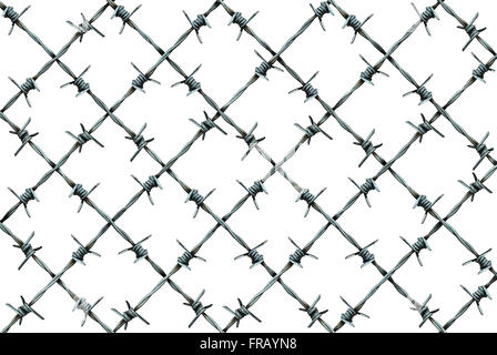 Barbed wire fence pattern isolated on a white background as metal wire with sharp spikes as a security and danger - Stock Photo