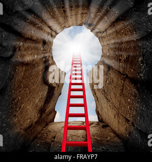 Reaching success as a business opportunity and career advancement concept as a red ladder leading to an opening - Stock Photo