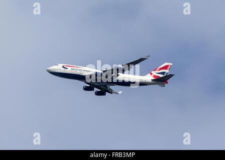 British Airways Boeing 747-436 (registration G-BYGG) flies over Palo Alto, California, United States of America