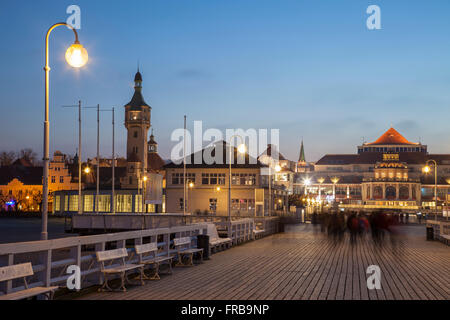 Evening on the Pier in Sopot, Poland. - Stock Photo