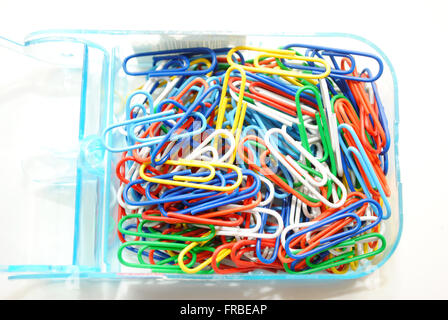 Close-Up of a Box of Multicolored Paper Clips - Stock Photo