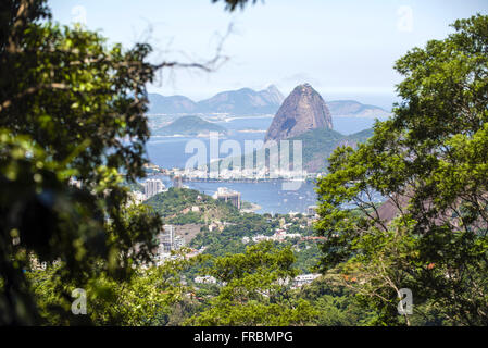 View of the Bay of Botafogo, Pao de Acucar and Morro da Urca from the Sumare Road - Stock Photo