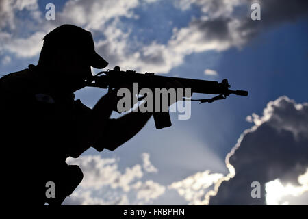 Military of GRAER - Grouping Aeropolicial Aereo and Rescue Military Police of Parana - Stock Photo