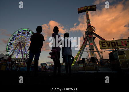 Children in amusement park from Agropecuaria and Industrial Exhibition - Expo Londrina 2014 - Stock Photo