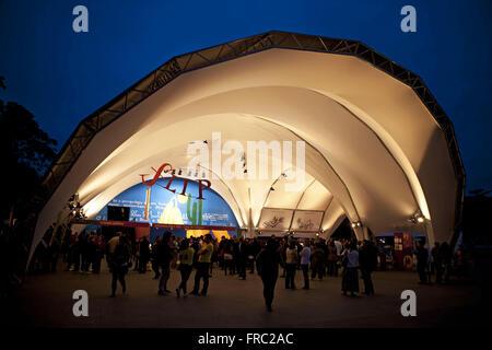 Tourists in the tabernacle of FLIP - Paraty International Literary Festival - coast of Rio de Janeiro - Stock Photo
