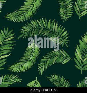 Vintage Seamless Tropical Palm Leaf Pattern With Texture Effect Vector Background Illustration