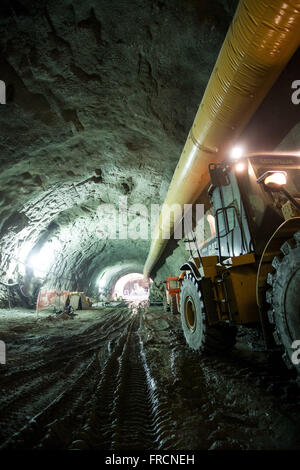 Tunnel construction in the Health section Binary Via Porto - work of viario system Marvelous Port - Stock Photo