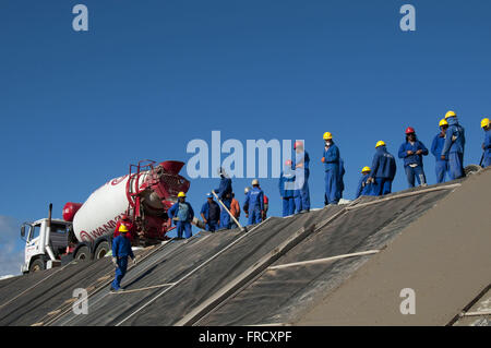 Concreting of the bypass channel of the Rio Sao Francisco - Stock Photo