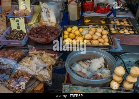 seafood market Tai O Lantau island in Hong Kong - Stock Photo