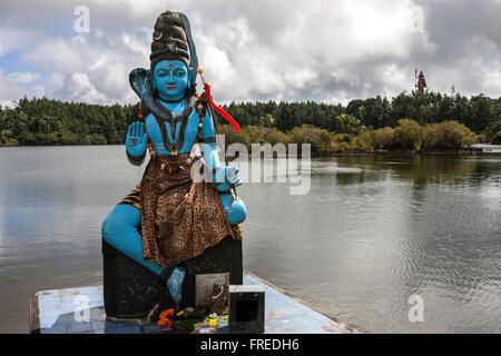 Statue of Shiva, Hindu god, sacred crater lake Grand Bassin or Ganga Talao, Mauritius
