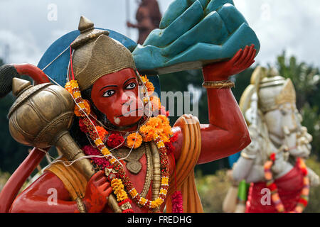 Statue of Hanuman, monkey god, sacred crater lake Grand Bassin or Ganga Talao, Mauritius