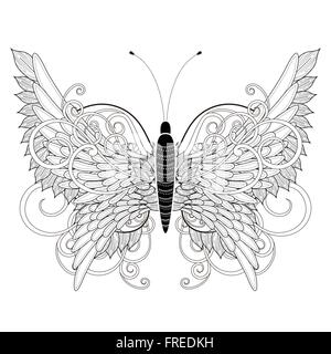 Elegant Butterfly Coloring Page In Exquisite Style Stock Vector Art Amp Illustration Vector Image