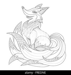 graceful fox coloring page in exquisite style stock photo