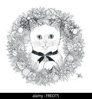 Vector Illustration Adorable Kitty Coloring Page In Exquisite Style