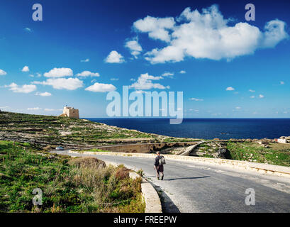 shepherd on road near fort and mediterranean coast view of gozo island in malta - Stock Photo