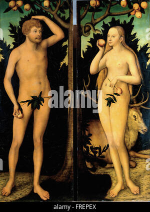 Lucas Cranach the Younger - Adam and Eve - Stock Photo