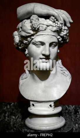 Dionysus, god of wine. Roman work after the Greek models of the mid-4th century BC. Bust. Marble. The State Hermitage - Stock Photo