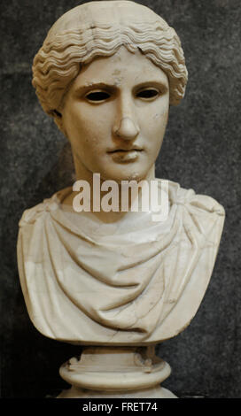 Head of a Goddes. Marble. Roman work. Early 1st c. AD. After the Greek original of the 420 BC. Eyes were made of - Stock Photo