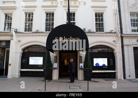A general view of Sotheby's on New Bond Street in London - Stock Photo